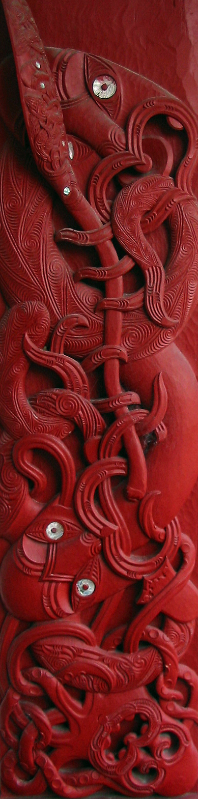 Maori carved house post from Tanenuiarangi meeting house, Waipapa marae.