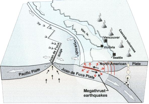 Diagram of the broad seismic picture off the coast of vancouver island, courtesy of the Mid Island News Blog.