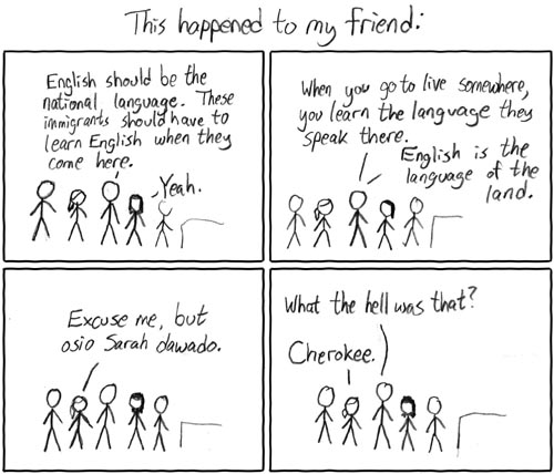 xkcd comic 84, Language of the Land, by Randall Munroe.