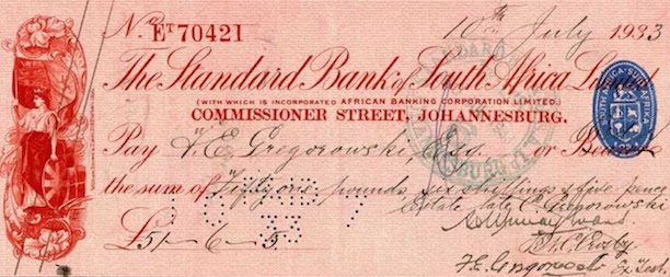 1933 south african cashier's cheque, a fancier version than is typical nowadays.