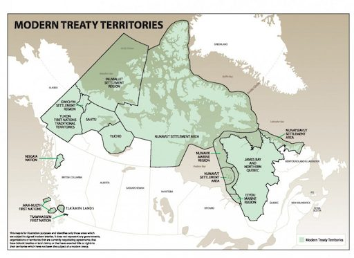 Map of modern treaties and the regions they apply to in the area currently referred to as canada, courtesy of the Land Claims Agreement Coalition via activehistory.ca.