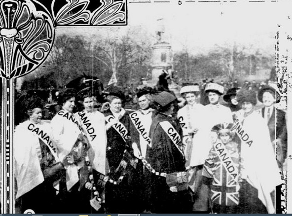 Canadian Women's Suffrage Delegation on its way to participate in a 1913 demonstration in washington, dc.