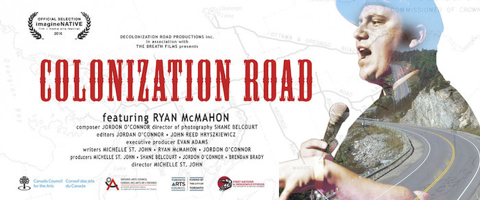 Publicity poster for 'Colonization Road,' Ryan McMahon's latest film that more than deserves a signal boost and your eyeballs watching it.