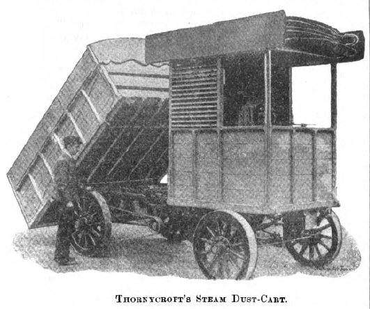 Thornycroft's Steam Dust-Cart, 1897. 'Dust' being the what in north america is more commonly referred to as general 'garbage.'