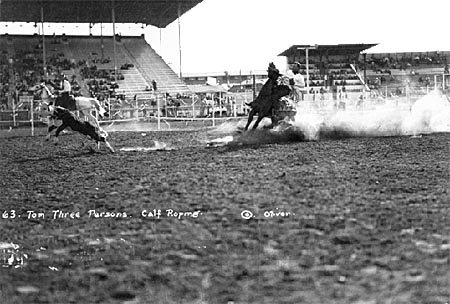 Tom Three Persons, Kainai cowboy competing at the calgary stampede in the 1920s.
